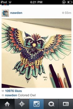 Owl tattoo. Can I get it in black abs white?