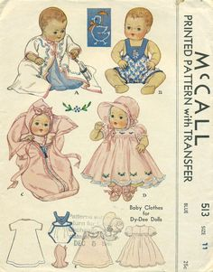 McCall 513 ORIGINAL Baby Clothes Pattern for 1930s Eleven Inch DY DEE Doll. via Etsy.