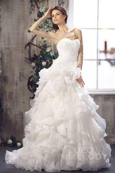 88daa8d0152ad Cute A-Line Sweetheart Court Train Ivory Organza Wedding Dress with Ruffles  CWLT1301A. ブライダルドレスプリーツウェディング ...