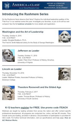 Webinars on a wide variety of social studies and language arts topics for K-12 educators.  FREE when using the promo code to register.  Sign up for their email list to receive announcements about upcoming programs.  These are in-depth 90-minute webinars with prior recommended reading.  Highly recommended!
