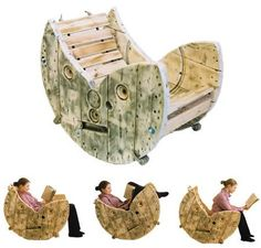 Recycle Reuse Renew Mother Earth Projects: How to Build a Cable Spool Rocking Chair. This is soooo cool. Recycled Furniture, Unique Furniture, Pallet Furniture, Furniture Design, Playhouse Furniture, Recycled Wood, Chair Design, Wire Spool, Wooden Spools