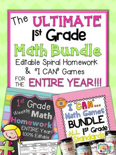 """Math Homework & Math Centers for the ENTIRE YEAR of FIRST GRADE!!! Includes my 100% EDITABLE Spiral Math Homework, & my """"I CAN"""" Math Games. All Aligned to the Common Core Standards. The ULTIMATE Math Bundle for 1st Grade. Paid"""