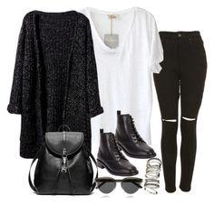 Look edgy simples mas bem estiloso, ótima inspiração pra quem quer se vestir bem no dia-a-dia , com calça jeans preta cintura alta com rasgos no joelho , camiseta branca , botas , maxi cardigan , mochila de couro e óculos de sol .