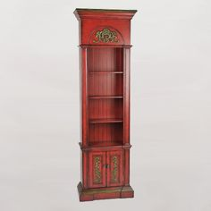 An awesome red bookcase ✿ Vintage Furniture, Furniture Decor, Red Bookcase, Vintage Shelf, Tall Cabinet Storage, Shelves, Interior Design, Antiques, Awesome