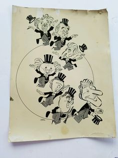 Caricature done by George Wachsteter. It is very difficult to find Wachsteter caricature art. Danny Kaye, Benny Goodman and 5 professors. From the movie A song Is Born 1948. This is old, so it does have some wear.