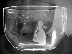 Orrefors Glass Girl, Moon,  & Stars Vase.  In Stockholm shop I met the salesclerk who posed for this!