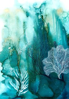 """""""Coral Reef by Donna Maloney. Paintings for Sale. Bluethumb - Online Art GalleryYou can fi. Coral Reef Drawing, Coral Reef Art, Coral Painting, Coral Reefs, Painting Inspiration, Art Inspo, Arte Coral, Underwater Painting, Alcohol Ink Art"""
