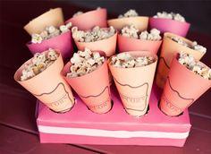 popcorn in cones made from scrapbook paper