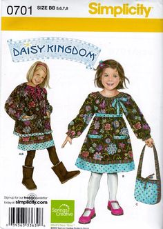 Daisy Kingdom Simplicity 0701 Pattern Sizes 5 6 7 & 8 Dress Jacket & Bag #Simplicity