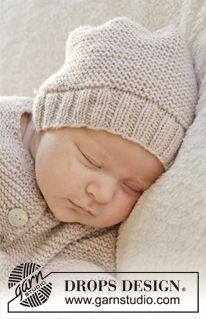 "Knitted DROPS hat in garter st in ""Baby Merino"". Size premature -4 years ~ DROPS Design"