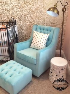 This @Bratt Decor Tiffany Blue Glider is the perfect pop of color and glam in this gold nursery! #glamnursery #brattdecor