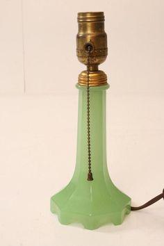 Vintage JADITE HOUZEX GLASS TABLE LAMP green art deco mid century 40s jadeite