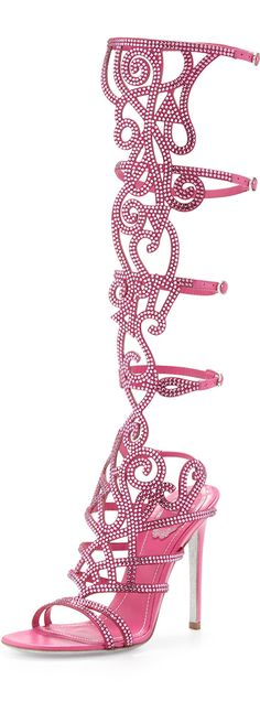 Rene Caovilla Knee-High Crystal Sandal  ...seriously! does someone actually wear shoes like this?