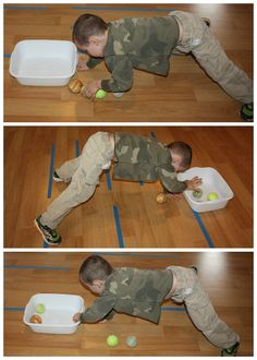 Child balances on all fours while moving a tennis ball into a container. Helps with balance while using eyes to track ball.