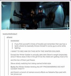 These are the reasons I love my fandoms. They come up with ridiculous stories like this that I love. the winter soldier Bucky captain America Steve Rogers carried bridal style Marvel Jokes, Avengers Memes, Marvel Funny, Marvel Dc Comics, Marvel Avengers, Marvel Actors, Marvel Characters, Marvel Universe, Chris Evans
