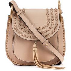 Chloe Hudson Small Leather Shoulder Bag ($2,240) ❤ liked on Polyvore featuring bags, handbags, shoulder bags, beige, genuine leather purse, studded shoulder bag, leather handbags, studded handbags and studded purse