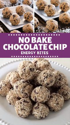No-bake energy bites with chocolate chips are the perfect healthy snack for your kids! It is loaded with coconut, oats, flaxseed and chia seeds! Make this recipe as a healthy after school snack or lunches for the kids! save this pin for later! Baby Food Recipes, Snack Recipes, Cooking Recipes, Oatmeal Recipes, Dinner Recipes, Lactation Recipes, Breakfast Recipes, Healthy Snacks For Kids, Healthy Desserts