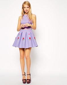Image 1 ofASOS Premium Bonded Skirt with Embellished Gems