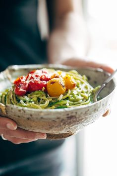 Burst Tomato and Zucchini Spaghetti with Avocado Sauce to get a free eCookbook with our top 25 recipes.Burst Tomato and Zucchini Spaghetti with Avocado SauceWe are living in the deep of winter. Whole Food Recipes, Cooking Recipes, Zucchini Spaghetti, Zucchini Noodles, Vegetarian Recipes, Healthy Recipes, Vegan Vegetarian, Spiralizer Recipes, Base Foods