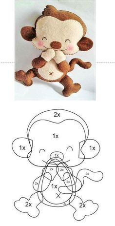 Molde Para Hacer Un Monito Changuito De Fieltro04 Sewing Toys, Baby Sewing, Sewing Crafts, Sewing Projects, Felt Animal Patterns, Stuffed Animal Patterns, Felt Crafts Diy, Sewing Stuffed Animals, Animal Crafts For Kids