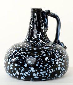 Very rare handled nailsea style onion bottle, Antique Glass Bottles, Glass Jug, Bottle Art, Black Glass, Vintage Art, Vases, Onion, Bowls, American
