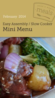 Easy Assembly Slow Cooker February Mini Menu - Prep 10 meals for your freezer in one afternoon!! And when you cook, it's a one pot clean up!