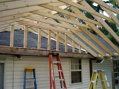 Ideas for backyard porch roof garage Back Patio, Backyard Patio, Pavillion, Porch Roof, Roof Deck, Pergola Roof, Building A Porch, Room Additions, House With Porch