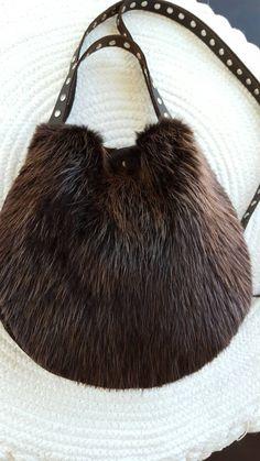 Items similar to Small Beaver Fur Crossbody Handbag on Etsy Fur Purse, Fur Bag, Diy Bags Purses, Purses And Handbags, Fur Accessories, Unique Purses, Vintage Fur, How To Make Handbags, Chanel Handbags