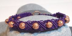 Adult Beaded Micromacrame Bracelet Purple and Copper by JJJCrafts, $20.00