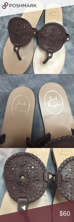 Jack Rogers Georgica Sandal Worn once or twice. In new condition. No flaws. Brown. Super cute! Comes with box! No trades. Jack Rogers Shoes Sandals