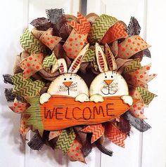 Easter wreath/ burlap Easter bunny wreath/ by Wreaths4u2byPaula