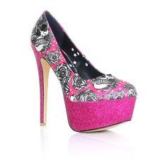 Pink And Black Heels | black and hot pink platform shoes uk size 3