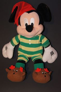 Disneys Christmas Morning Mickey Mouse 18 with Reindeer feet Disney Christmas, Christmas Stuff, Stuffed Animals, Dinosaur Stuffed Animal, Mickey Mouse Doll, Disney Plush, Christmas Morning, Jurassic Park, Archie