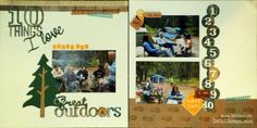 Camping Scrapbook Layout using CTMH Timberline paper and Cricut Artbooking. - http://DrPhilScraps.com