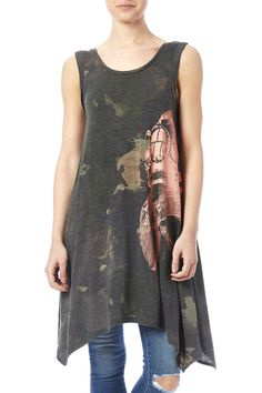 Cap sleeve blurry camo printedtank tunic with asymmetric sides and a scoop neckline.  Diver Tunic by WoodenJacket. Clothing - Tops - Sleeveless Clothing - Tops - Tunics Indiana