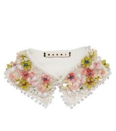 Marni Beaded Collar, Collar And Cuff, Beaded Embroidery, Hand Embroidery, Golas Peter Pan, Collars, Moda Floral, Lesage, Collar Designs