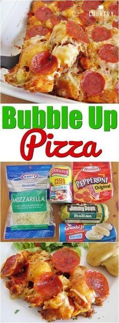 Bubble Up Pizza Casserole recipe from The Country Cook Bubble Up Pizza is a refrigerated biscuit casserole that uses pizza sauce, sausage, mozzarella cheese and pepperoni to make an easy dinner! Bubble Up Pizza, Sauce Pizza, Pizza Pizza, Pizza Party, Pizza Pasta Bake, Grilled Pizza, Pizza Food, Food Food, Jai Faim