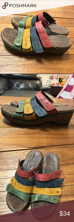 Born Multicolor Strap Velcro Sandals sz8 Born wedge/clog sandals in a size 8/39. They are multicolored with Velcro adjustable straps. Perfect, like new condition! Born Shoes Sandals