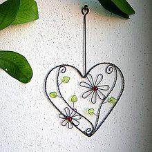 Dekorácie - srdiečko s kvetmi - 6334348_