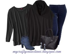 Women's Plus-Size Outfit - Winter Blue - Featuring ankle boots from Target.