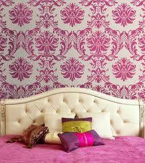 pink damask, bedroom