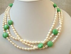 3 strands white freshwater pearl and turquoise necklace White Freshwater Pearl, Freshwater Pearl Necklaces, Diy Jewelry, Gemstone Jewelry, Turquoise Necklace, Beaded Necklace, Antique Stores, Fresh Water, Pearls