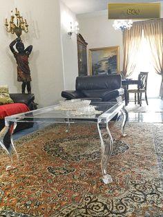 Lucite Acrylic coffe table - TAVOLINI DA SALOTTO IN PLEXIGLASS | Tavolo trasparente in plexiglass mod.800 | Tavolino plexiglass cm.120 x 80 h.43 - telaio sp.mm.40 - gambe sez.mm.70