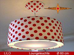 Loungeleuchte LILO, D 60 cm, Pendellampe mit Lichtrand und Baldachin. Wunderschön. Rote Punkte auf weißem Baumwollstoff. Nicht nur wunderschön, sondern auch ein ewiger Klassiker.