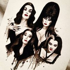 horror goth gothic the addams family Vampira Morticia the munsters lily munster Herman Munster elvira mortica addams gothgoth mama-macabre Dark Beauty, Beltane, The Addams Family, Adams Family, Addams Family Tattoo, Art Paintings, Watercolor Paintings, Pin Up Retro, Arte Lowrider