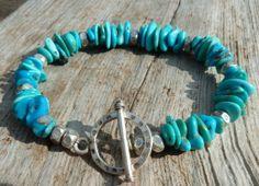 Stacked turquoise & fine silver bracelet by kudzupatch on Etsy, $60.00