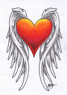 Hearts With Wings Drawing at . 16 Tattoo, Tattoo Drawings, Body Art Tattoos, Pencil Drawings, Wing Tattoos, Hart Tattoo, Tatoos, Cross Tattoos, Tattoo Ink
