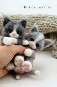 Fart filc i nie tylko Needle Felted Cat, Needle Felted Animals, Felt Animals, Crochet Toys Patterns, Stuffed Toys Patterns, Food Pillows, Needle Felting Tutorials, Felt Cat, Felt Toys