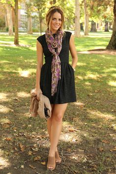 Around and About - Gal Meets Glam. Black dress with floral scarf. \\ Julia Engel, Gal Meets Glam