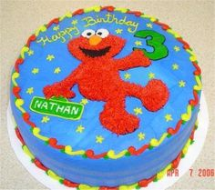 Elmo cake. Thinking of doing an Elmo theme for J's 2nd Birthday.